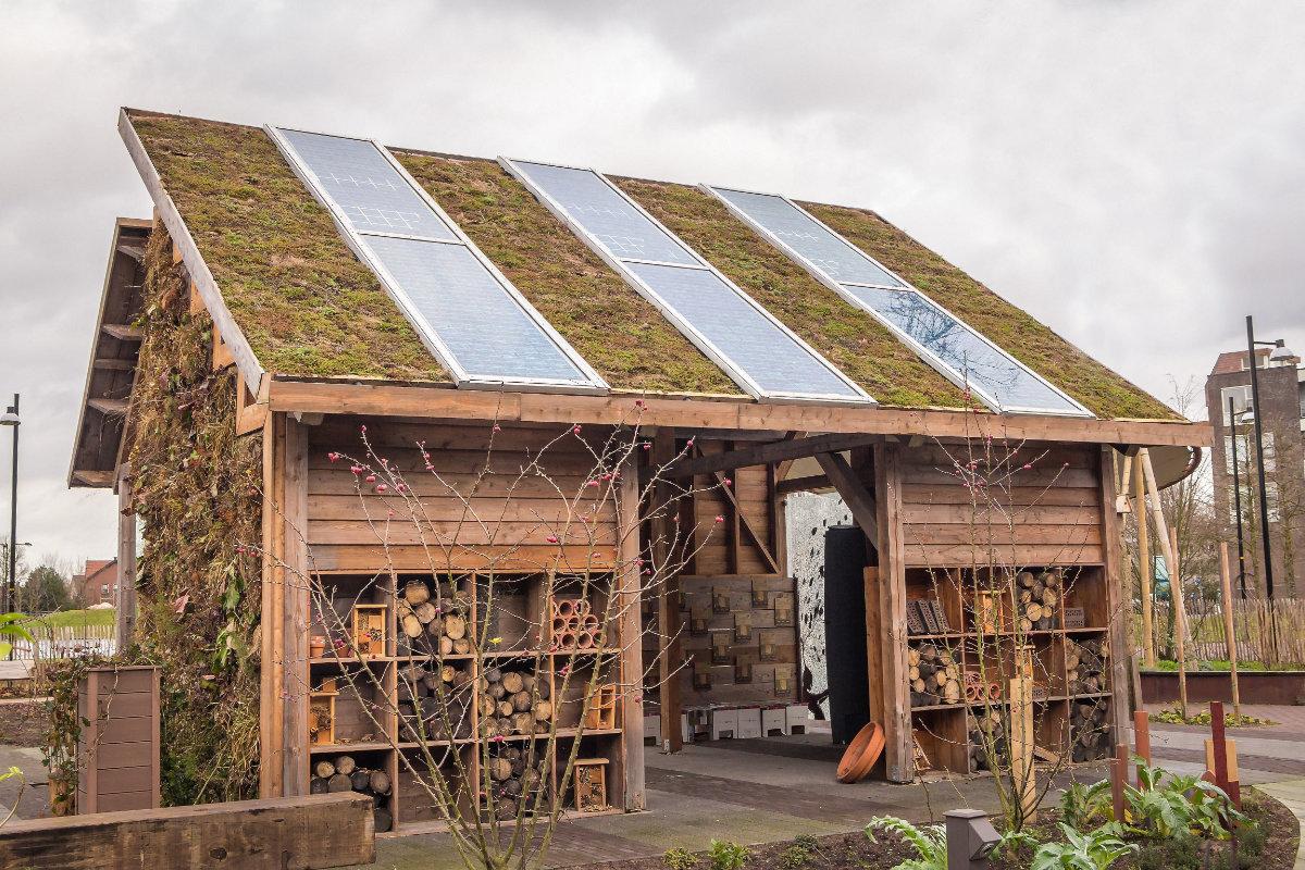 panneau solaire sur abri de jardin